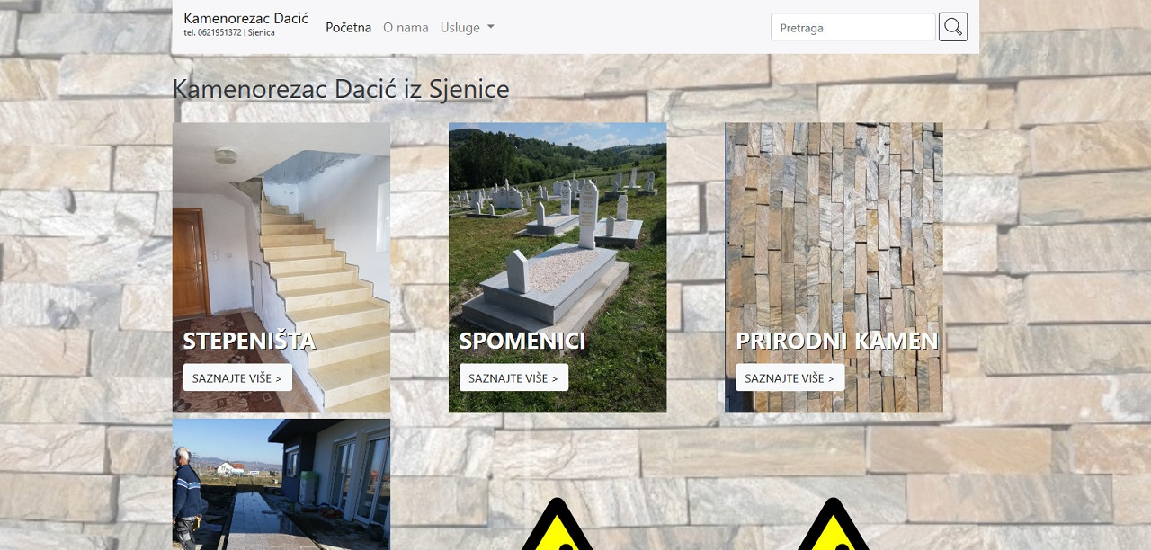 Website design - kamenorezacdacic.rs